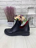 Женские закрытые туфли на шнурках. Кожа.  36-41 Черный