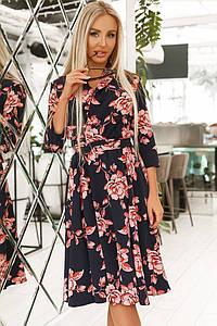 """Приталенное миди-платье в цветочек """"Lillie"""" с расклешенной юбкой (4 цвета)"""