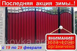 Въездные ворота с калиткой, код: Р-0102