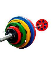 Штанга обрезиненная с цветными дисками на 185 кг RN-Sport, фото 1