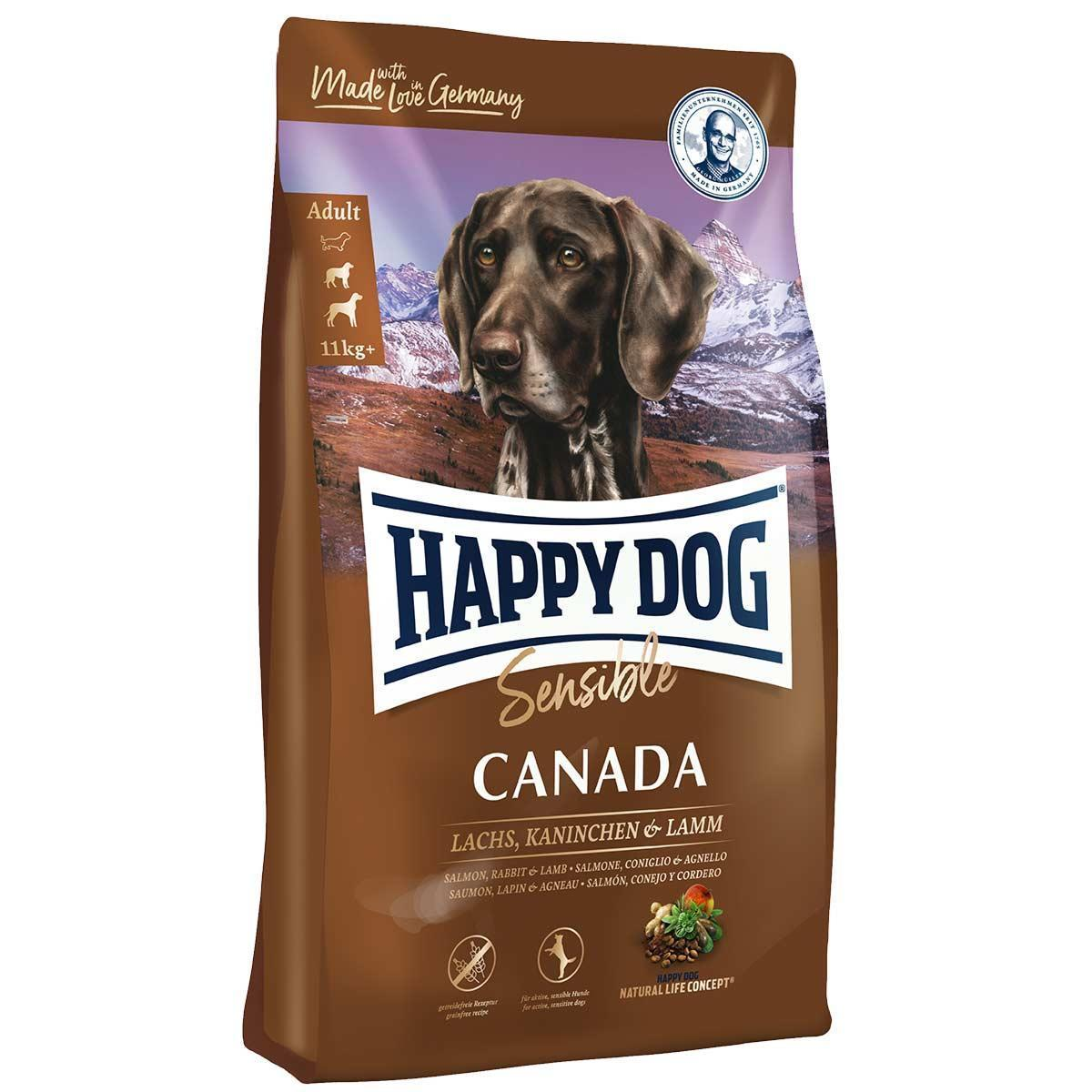 Сухой корм HAPPY DOG Supreme Canada для собак, лосось, кролик, ягненок, без злаков, 12,5 кг