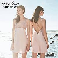 Сорочка ночная женская кружевная. Комбинация с кружевом. Ночная рубашка, размер S (розовая)