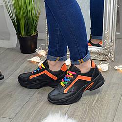 Кроссовки женские кожаные на шнуровке, цвет черный/оранжевый