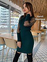 Женское трикотажное вязаное платье рубчик с шифоновым рукавом