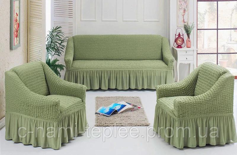 Чехлы на диван и 2 кресла с оборкой Оливковый