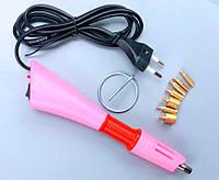 Паяльник для термостраз с насадками 10-12W (Термоаппликатор для страз) Цвет- Розовый