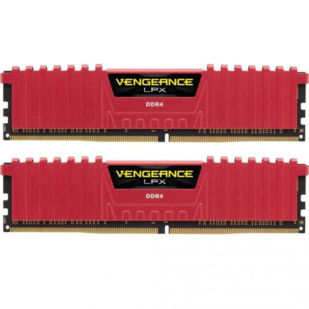 Оперативная память 16GB (kit 2 * 8GB) Corsair Vengeance LPX (CMK16GX4M2B3200C16R) Red