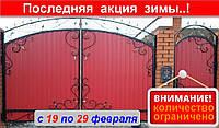 Ворота из профнастилом с коваными элементами, код: Р-0112