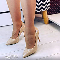 Женские лаковые  фигурные туфли лодочки на шпильке с заостренным носком бежевые, фото 1