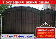 Распашные ворота с калиткой из металопрофиля, код: Р-0118