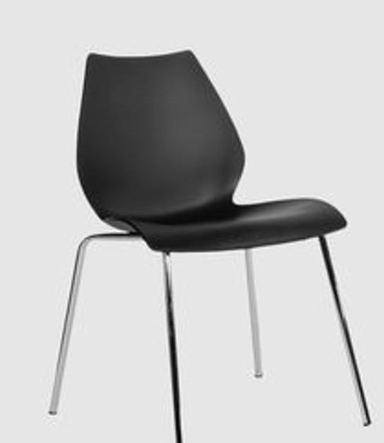 Штабелируемый стул Лили, металл, хром, цвет черный