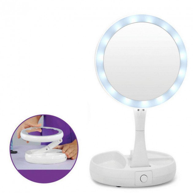 Двостороннє дзеркало для макіяжу з Led підсвічуванням трансформер кругле збільшувальне