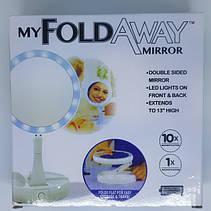Двостороннє дзеркало для макіяжу з Led підсвічуванням трансформер кругле збільшувальне, фото 3