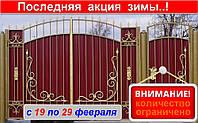 Ворота с калиткой и элементами ковки, код: Р-0149, фото 1