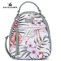 Рюкзак городской женский с фламинго DAVID JONES (зеленый)