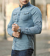 Рубашка мужская джинсовая синяя / ТОП качество