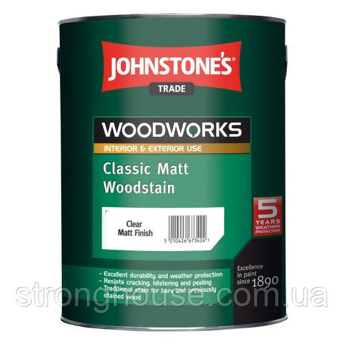 Johnstone's Classic Matt Woodstain 5л Матовый Антисептик Джонстоун Класик Мат Вудшайн