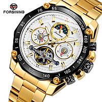 Forsining 6913 Gold-Black-White Часы мужские наручные механические с автоподзаводом