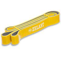 Резина для подтягиваний двухслойная Zelart, резина, р-р 2080x32x4,5мм, жесткость M, желтый (FI-0911-6), фото 1