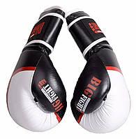 Боксерские перчатки виниловые 12 OZ черно-белые BigFight Рукавиці для боксу.