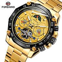 Forsining 6913 Gold-Black-Gold Часы мужские наручные механические с автоподзаводом
