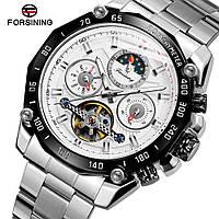 Forsining 6913 Silver-White-Black Часы мужские наручные механические с автоподзаводом