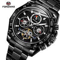 Forsining 6913 All Black Часы мужские наручные механические с автоподзаводом