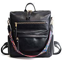 Рюкзак сумка женский городской  с текстильным ремешком (черный)