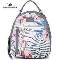 Рюкзак городской женский с фламинго DAVID JONES (серый)