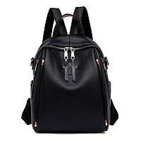 Рюкзак сумка женский городской стильный из экокожи  Звезда. Сумка трансформер (черный)