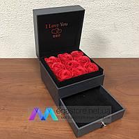Подарочная коробка шкатулка с розами из мыла и отделением под украшение Soap Flower 9 шт девушке маме 8 марта