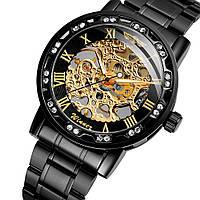 Winner 8012 Diamonds Automatic Black-Gold Мужские наручные часы механические