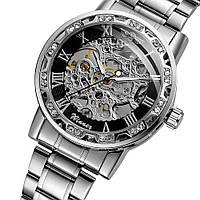 Winner 8012 Diamonds Automatic Silver-Black Мужские наручные часы механические