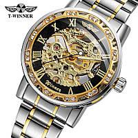 Winner 8012 Diamonds Automatic Silver-Black-Gold Мужские наручные часы механические