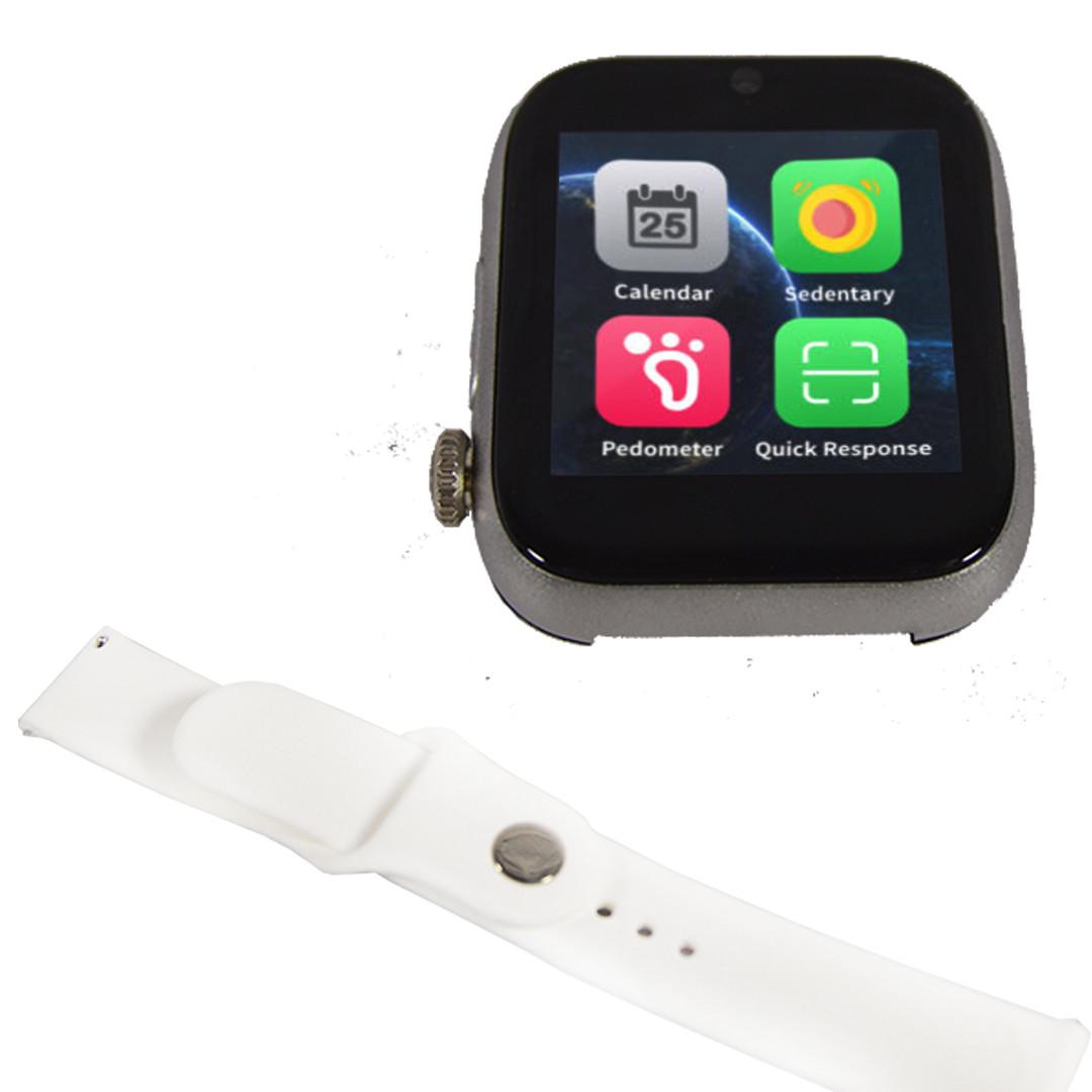 """Умные часы-телефон 1.54"""" смарт часы с камерой Smart Watch Z6S (серые + белый ремешок)"""