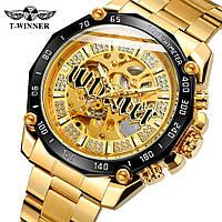 Winner 8186 Big Diamonds Gold Мужские наручные часы механические с автоподзаводом