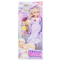 """Кукла беременная """"Happy Mother"""" с ребёнком (сиреневый) аналог Барби"""