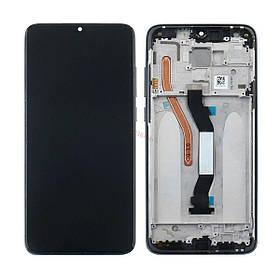 Дисплей (экран) для Xiaomi Redmi Note 8 Pro с сенсором (тачскрином) и рамкой черный Оригинал