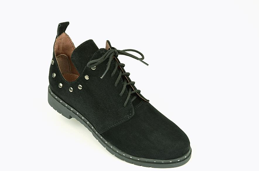 Туфлі для дівчаток шнурівка замшеві чорні 332057