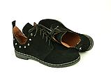 Туфлі для дівчаток шнурівка замшеві чорні 332057, фото 3