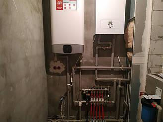 Монтаж системы отопления. Монтаж электро котла с бойлером. Монтаж водяных теплых полов. 1