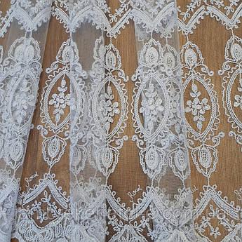 Тюль в зал, белая кордовая вышивка с серебрянным люрексом, турецкий фатин