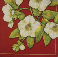"""Салфетка для декупажа """"Белые цветы на бордовом"""""""