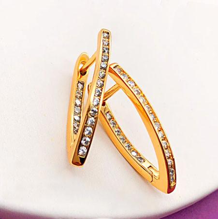 Серьги Xuping Jewelry Моник медицинское золото, позолота 18К английский замок А/В 1-0057