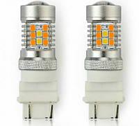 Двухцветные светодиодные лампы Led 7443, ДХО  2 в 1, поворот габарит поворот, белый желтый