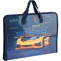 Папка-портфель на молнии, 1 отделение, A4, Kite, Fast Cars k20-202, KITE канцелярия
