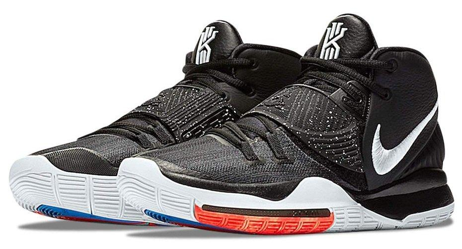 "Баскетбольные подростковые кроссовки Nike Kyrie 6 ""Bred"" черные с красным / Найк підліткові (Топ реплика ААА+)"