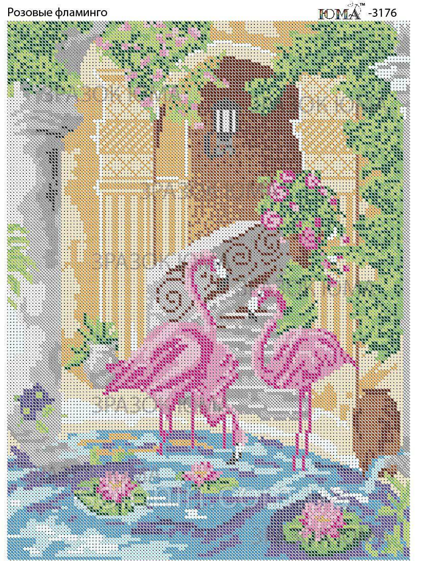 """""""Розовые фламинго"""".  Схема для вышивки бисером"""