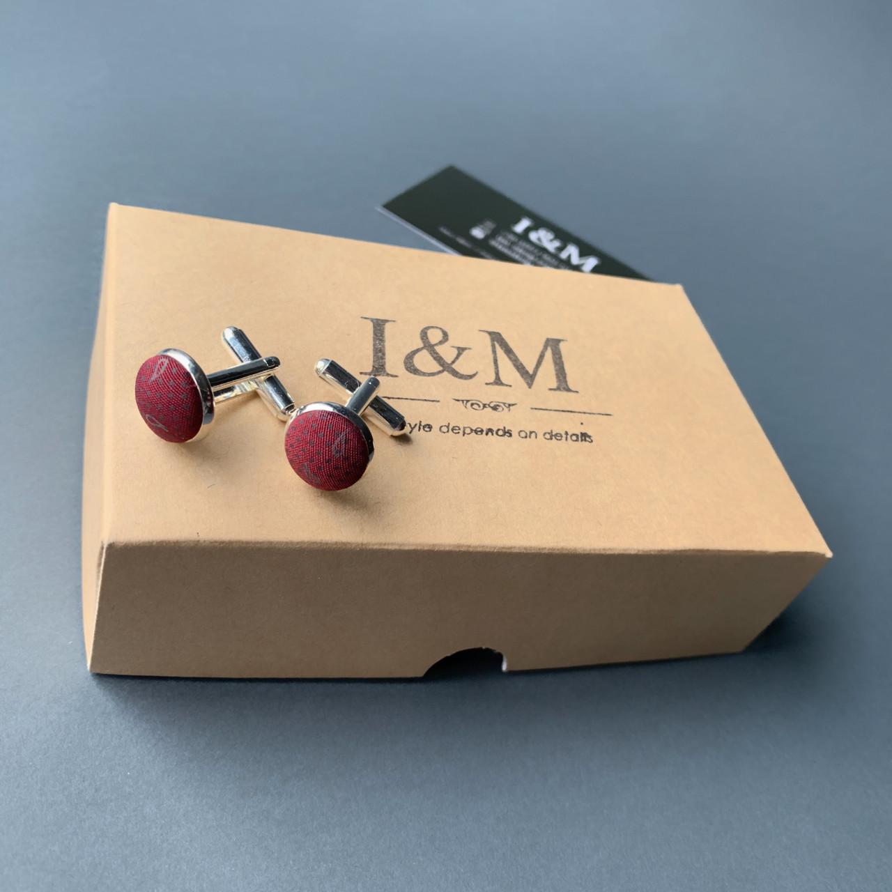 Запонки I&M Craft  бордо в перцы (500116Z)