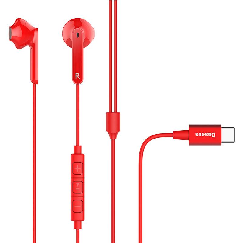 Наушники Baseus Encok Wire Earphone C16 Red (NGC16-09)